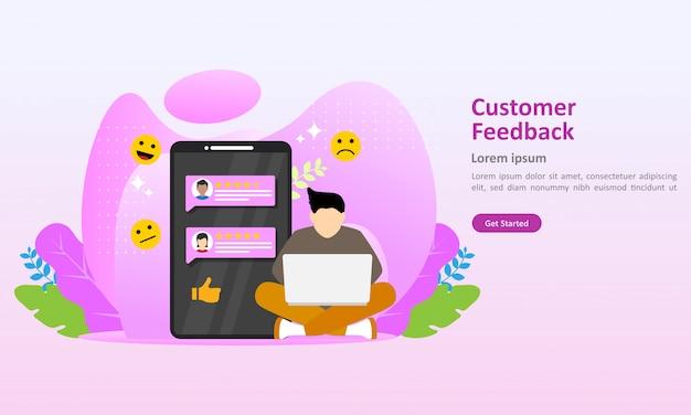 Modello di pagina di destinazione di illustrazione vettoriale di feedback dei clienti