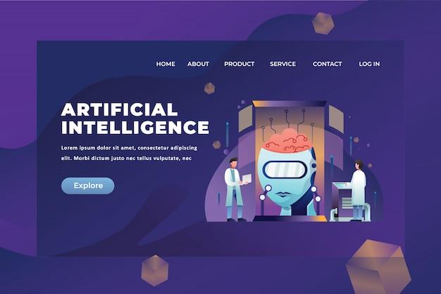 Modello di pagina di destinazione di intelligenza artificiale