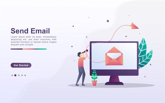 Modello di pagina di destinazione di invio e-mail in stile effetto sfumato