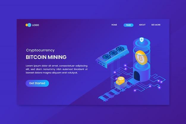 Modello di pagina di destinazione di mining bitcoin isometrica