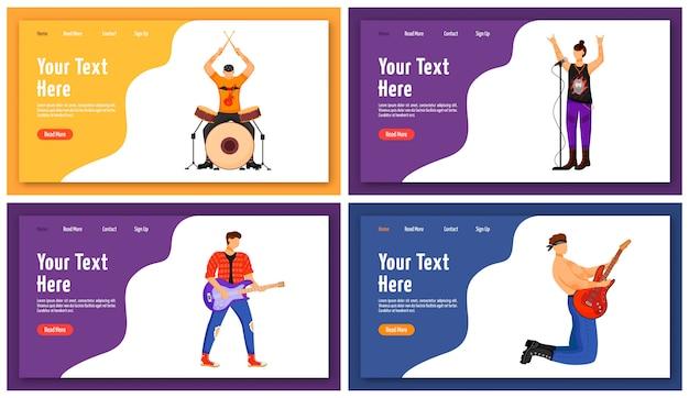 Modello di pagina di destinazione di musicisti rock. idea dell'interfaccia del sito web dei membri della band musicale con illustrazioni. persone che suonano il layout della homepage di strumenti musicali. web, concetto di fumetto pagina web