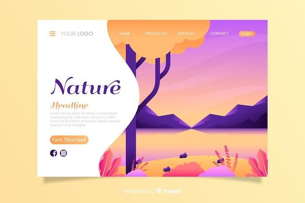 Modello di pagina di destinazione di natura piatta