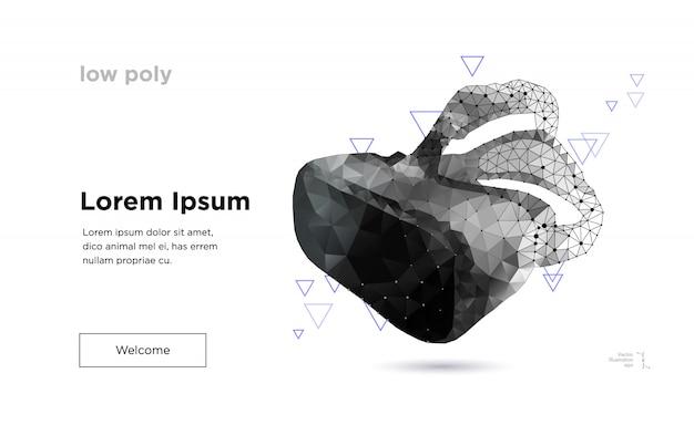 Modello di pagina di destinazione di occhiali di realtà virtuale low poly