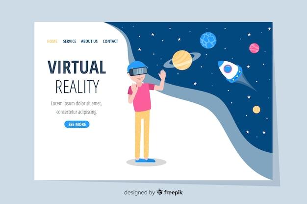 Modello di pagina di destinazione di realtà virtuale con paesaggio