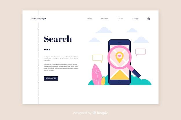 Modello di pagina di destinazione di ricerca piatta