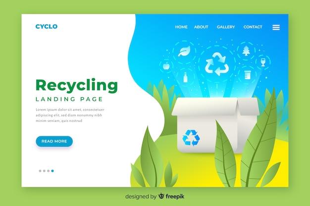 Modello di pagina di destinazione di riciclaggio piatta