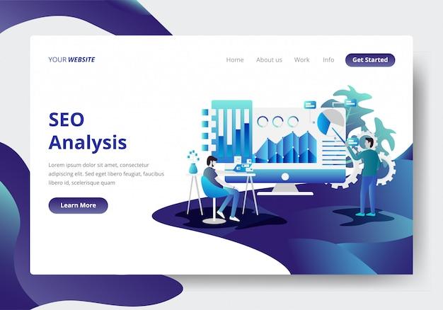 Modello di pagina di destinazione di seo analysis concept