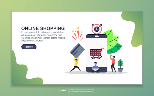 Modello di pagina di destinazione di shoppin online