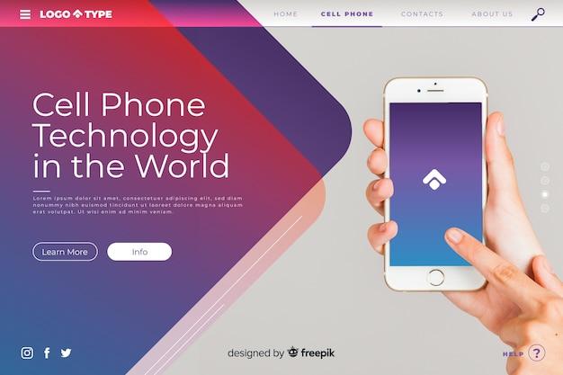 Modello di pagina di destinazione di tecnologia con foto
