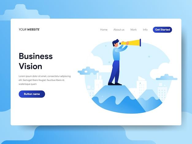 Modello di pagina di destinazione di uomo d'affari con visione