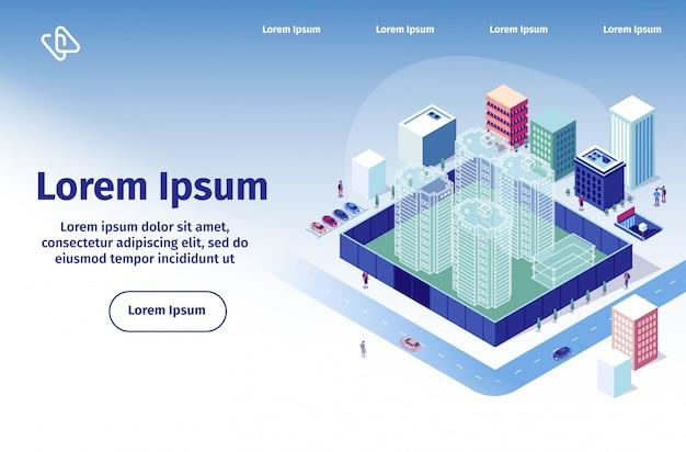 Modello di pagina di destinazione di vettore della società di costruzioni