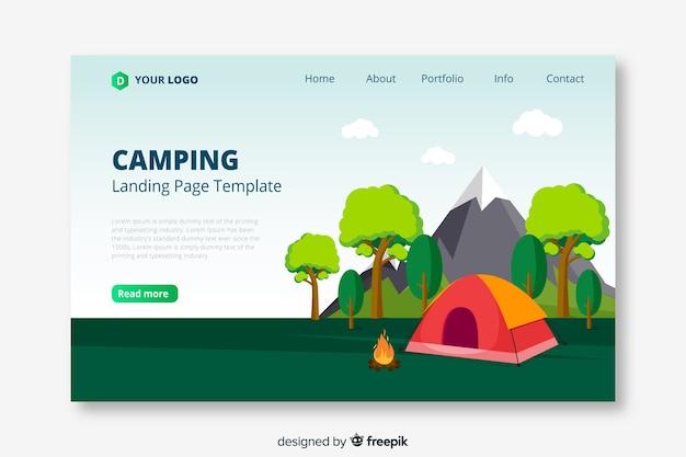 Modello di pagina di destinazione di viaggio campeggio
