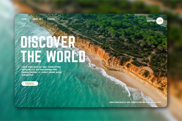 Modello di pagina di destinazione di viaggio con foto