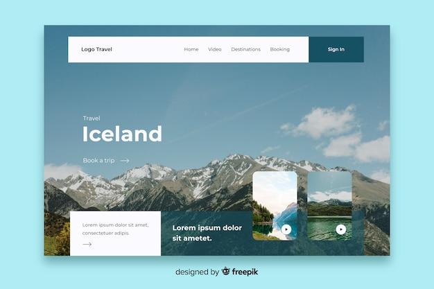 Modello di pagina di destinazione di viaggio islanda