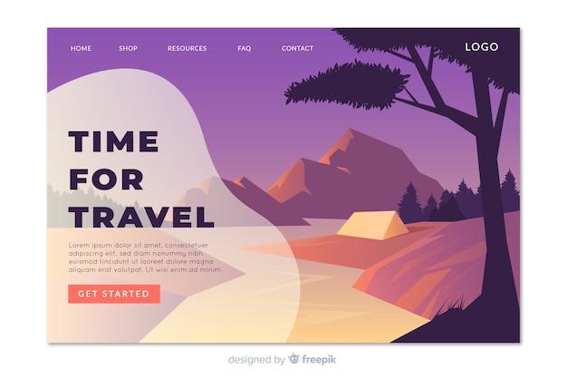 Modello di pagina di destinazione di viaggio piatto
