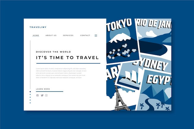 Modello di pagina di destinazione di viaggio sul classico colore blu