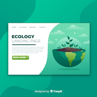 Modello di pagina di destinazione ecologia piatta
