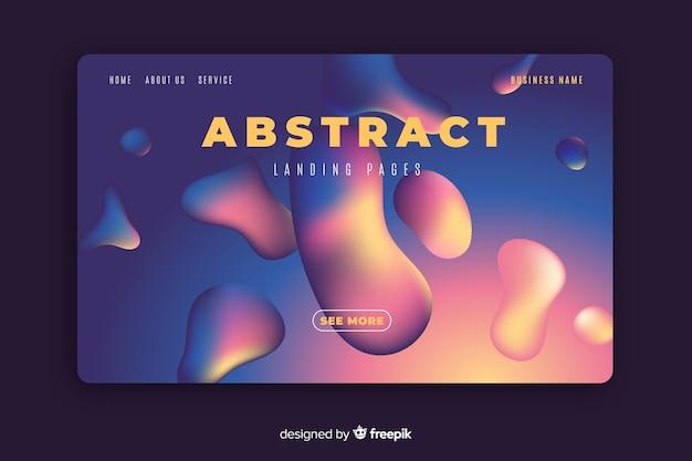Modello di pagina di destinazione effetto liquido astratto