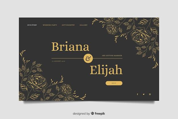 Modello di pagina di destinazione elegante matrimonio disegnato a mano