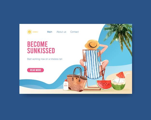 Modello di pagina di destinazione estate disegnato a mano