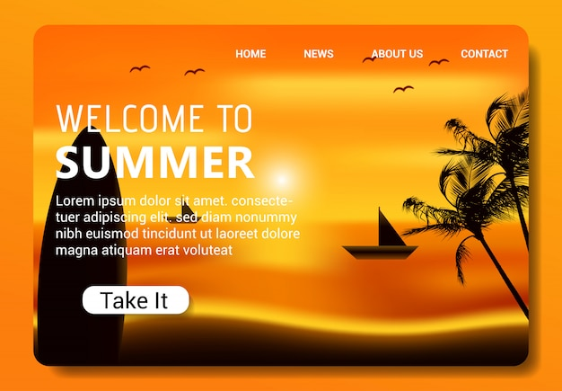 Modello di pagina di destinazione estiva, design moderno