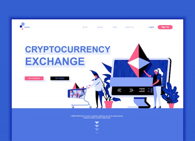 Modello di pagina di destinazione flat di cryptocurrency exchange
