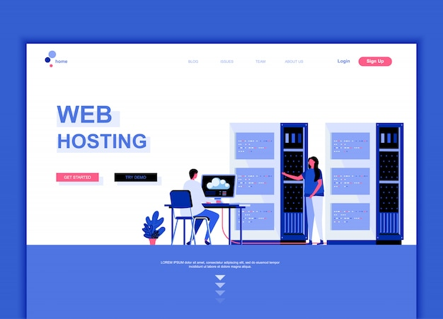 Modello di pagina di destinazione flat di web hosting