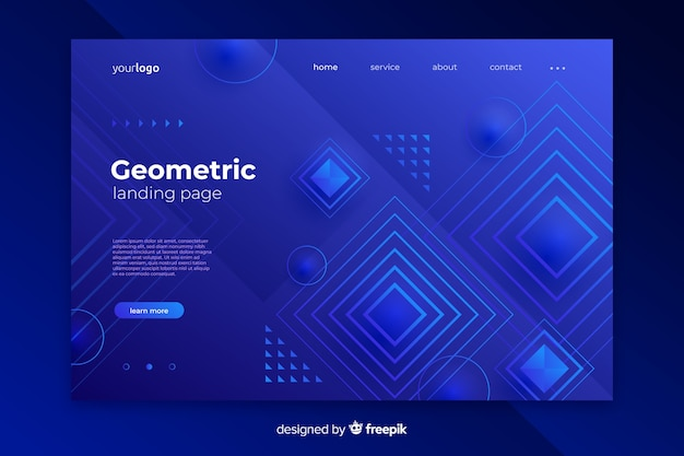 Modello di pagina di destinazione forme geometriche astratte