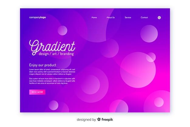 Modello di pagina di destinazione geometrica gradiente