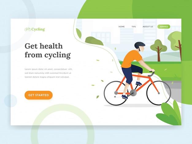 Modello di pagina di destinazione in bicicletta