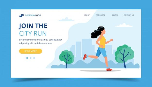Modello di pagina di destinazione in esecuzione. donna che corre nel parco.