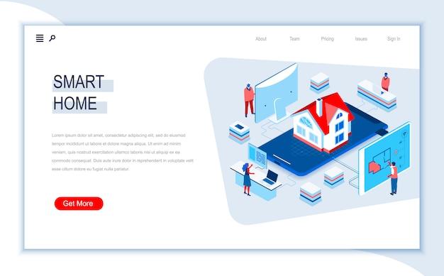 Modello di pagina di destinazione isometrica casa intelligente.