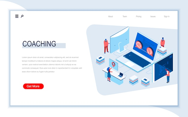 Modello di pagina di destinazione isometrica coaching aziendale.