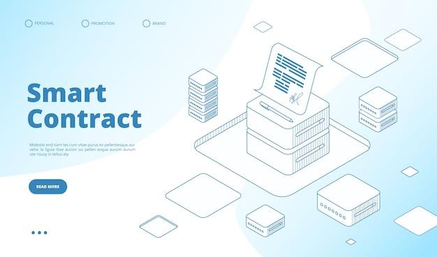 Modello di pagina di destinazione isometrica del contratto intelligente
