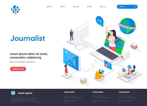 Modello di pagina di destinazione isometrica del giornalista