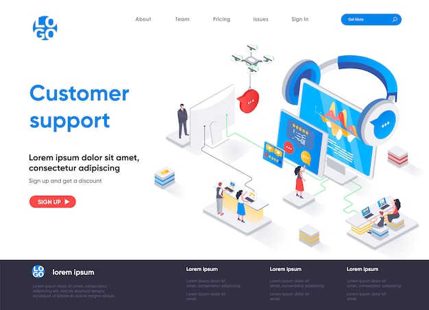Modello di pagina di destinazione isometrica dell'assistenza clienti
