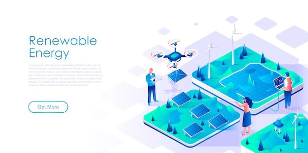 Modello di pagina di destinazione isometrica delle energie rinnovabili