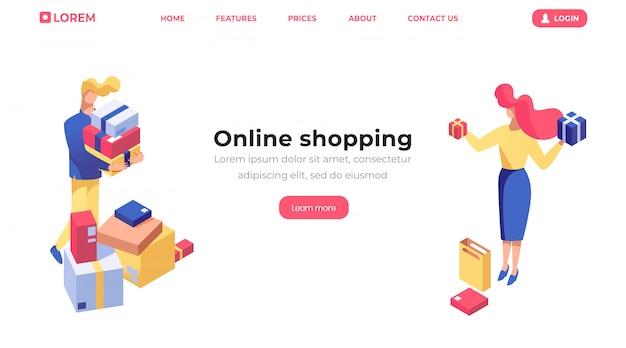 Modello di pagina di destinazione isometrica dello shopping online
