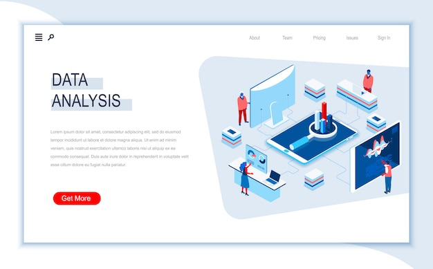 Modello di pagina di destinazione isometrica di analisi dei dati.
