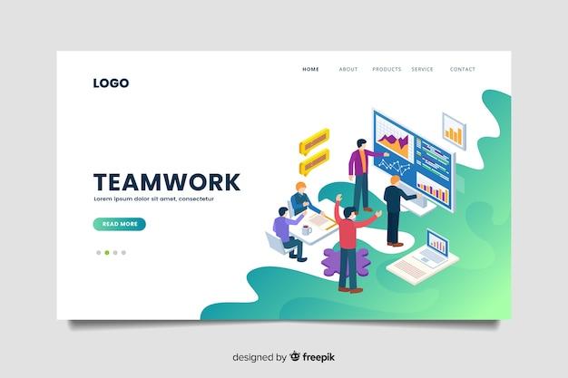 Modello di pagina di destinazione isometrica di lavoro di squadra