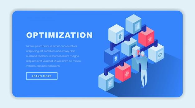 Modello di pagina di destinazione isometrica di ottimizzazione