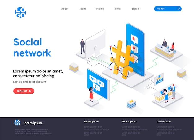 Modello di pagina di destinazione isometrica di social network