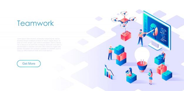 Modello di pagina di destinazione isometrica lavoro di squadra