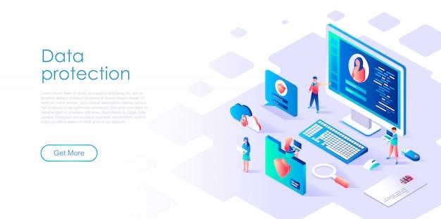 Modello di pagina di destinazione isometrica protezione dei dati
