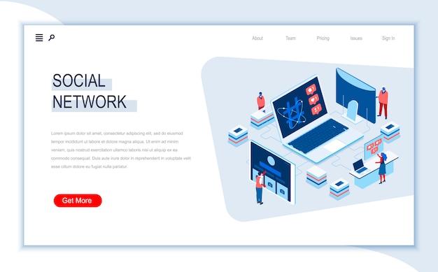 Modello di pagina di destinazione isometrica social network.