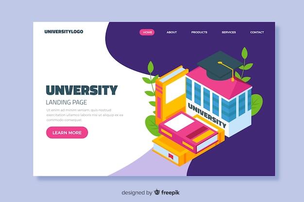Modello di pagina di destinazione isometrica universitaria
