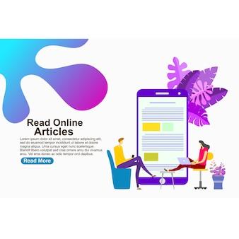 Modello di pagina di destinazione leggi articoli online