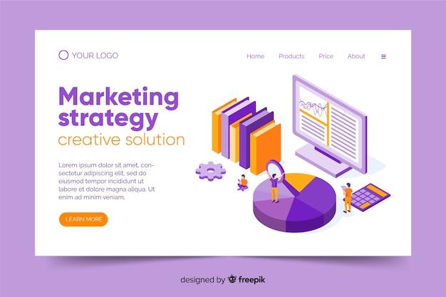 Modello di pagina di destinazione marketing isometrica