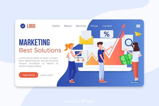 Modello di pagina di destinazione marketing piatto