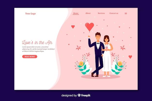 Modello di pagina di destinazione matrimonio piatto
